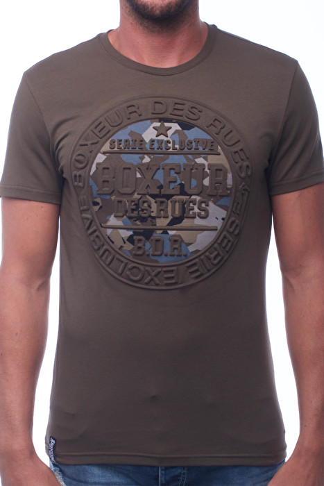 f42013cc5c ROUND NECK T-SHIRT WITH EMBOSSED PRINT ON FRONT - T-SHIRT | BOXEUR