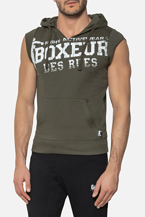 Man Boxeur des rues Round-Neck Tank Top In Black with Front Maxi Print
